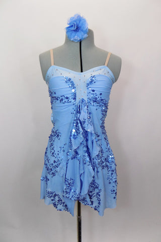Blue lyrical dress & gathered mesh bust over pale blue stretch with blue sequins and ruffled kerchief accent at front.  Comes with matching hair accessory. Front