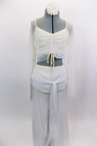 2-piece costume is a sheer mesh with long bell-sleeves & gathered front. Has a built in ivory bust area. Matching pants have wide leg mesh with attached  brief. Comes with hair accessory. Front