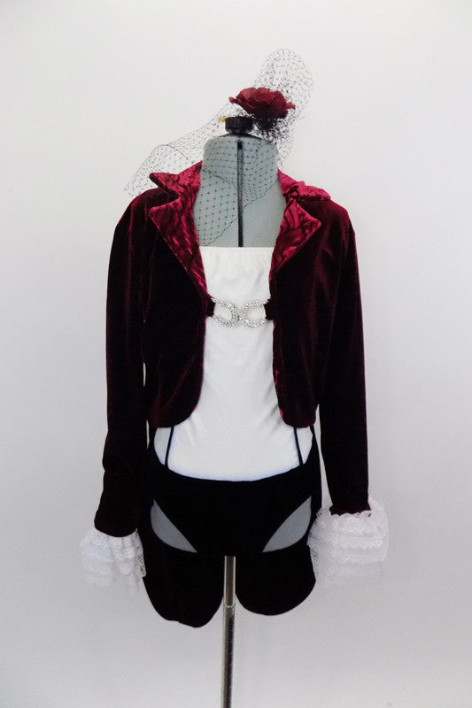 Cream camisole leotard has black velvet bottom & princess seams. Costume comes with a deep red velvet tailcoat with crystal clasps & ruffled lace cuffs. Comes with maroon rose veiled hair accessory. Front