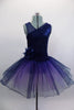 Navy tutu  has asymmetrical sequined bodice. Navy tulle, sits on layers of pale mauve tulle. Wide waistband gathers with a large navy flower on the right hip. Comes with hair accessory. Front