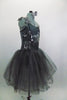 Romantic tutu dress in shades of grey has charcoal crystal tulle over layers of pale grey. The bodice is a charcoal, princess cut styles with embroidered lace. Comes with floral hair accessory. Side