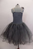 Romantic tutu dress in shades of grey has charcoal crystal tulle over layers of pale grey. The bodice is a charcoal, princess cut styles with embroidered lace. Comes with floral hair accessory. Back