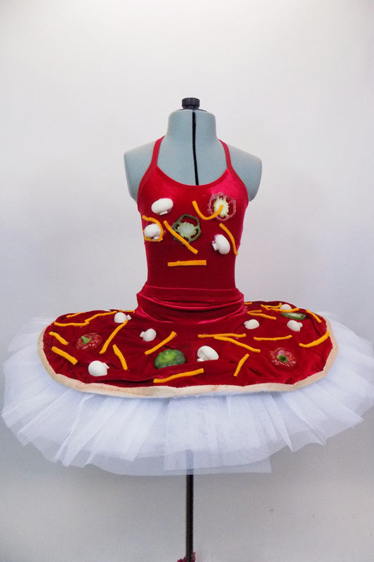 Red velvet bodysuit has large faux vegetables & cheese strings on front torso. The matching platter tutu resembles a large pizza pie covered in all the toppings. Front