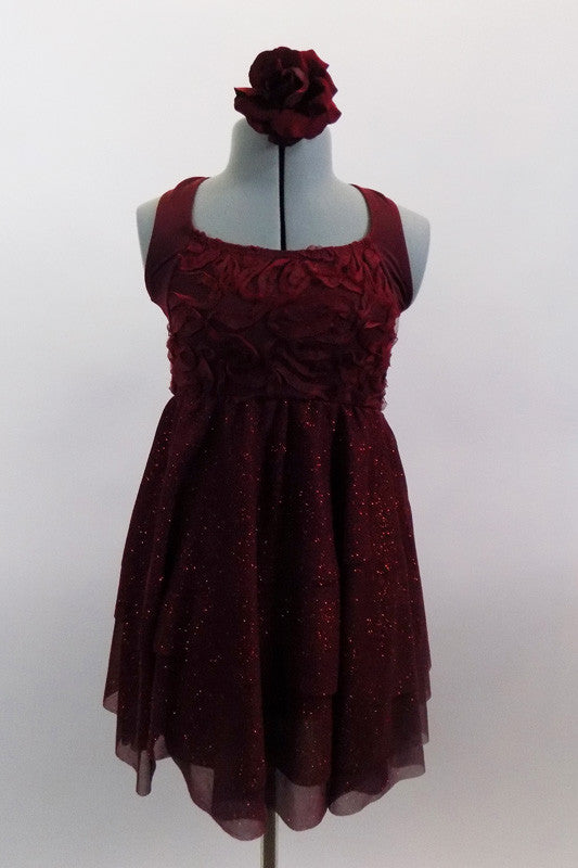 Deep maroon glitter mesh halter dress has attached panty. Pretty rose ribbon bodice & angled straps give it a delicate touch. Comes with rose hair accessory. Front