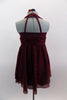 Deep maroon glitter mesh halter dress has attached panty. Pretty rose ribbon bodice & angled straps give it a delicate touch. Comes with rose hair accessory. Back