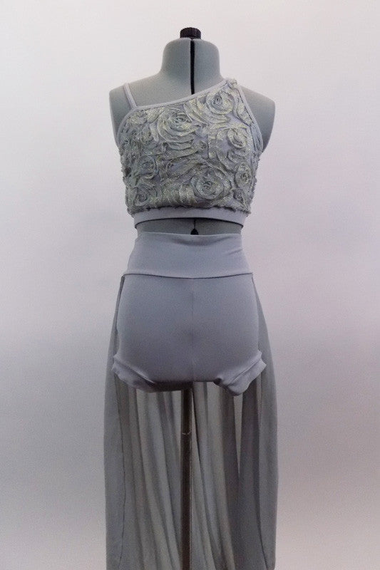 Grey two piece costume has asymmetrical rose ribbon half-top with gold accents. Back straps join below right shoulder blade. High waisted short has long skirt. Front