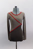 Long sleeved, low back, short cut unitard had alternating shades of light and dark gray sections separated by red banding. Great contemporary costume. Front