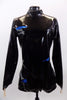 Black patent leather-look long sleeved, high collar, short unitard zips at back. It is  The electric blue lining peeks through slashes in the pleather. Front