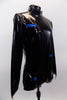 Black patent leather-look long sleeved, high collar, short unitard zips at back. It is  The electric blue lining peeks through slashes in the pleather. Side