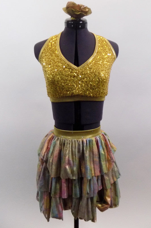 2-piece costume comes with gold sequin halter, pinch front, bra top. The skirt has three layers of gathered variegated pastel colors with gold shimmer. Comes with hair accessory. Front