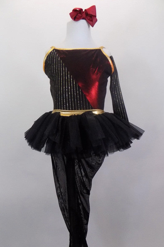 3-piece costume consists of camisole leotard (burgundy & black/gold pinstripes) with low back connected by gold bow band, mesh stirrup tights, a black pull-on tutu, gauntlet and hair bow. Front