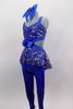 Royal blue unitard has fully sequined bodice with open back, sides & sequin peplum skirt. Has blue bow accent at the of torso & blue legging bottoms. Comes with large hair bow. Side