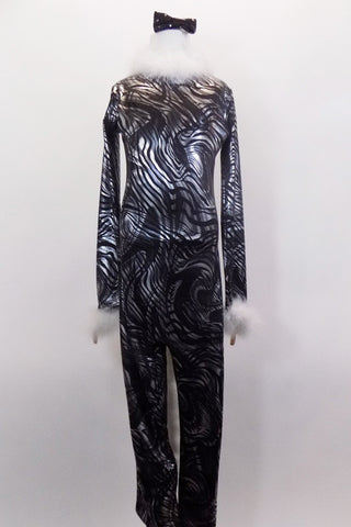 Black & silver kaleidoscope swirl print full unitard zips up at back. It's accented with white marabou fur collar, cuffs & tail. Comes with ears headband & bow. Front