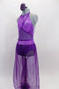 Purple Arabian themed 2-piece costume has halter style leotard with light purple, cross-over front, purple glitter mesh middle & dark purple bottom. Matching purple sheer harem pants have light purple waist. Comes with hair accessory. Side