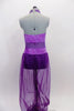 Purple Arabian themed 2-piece costume has halter style leotard with light purple, cross-over front, purple glitter mesh middle & dark purple bottom. Matching purple sheer harem pants have light purple waist. Comes with hair accessory. Back