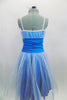 Turquoise dress has white crystal tulle overlay skirt & pleated bust. The wide turquoise waistband is ruched & gathered at sides. Has elastic glitter straps. Back