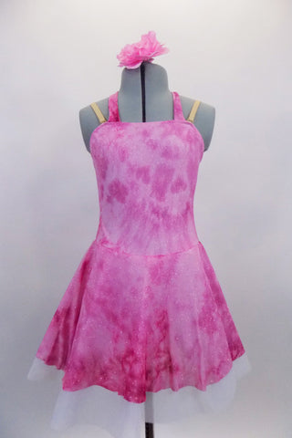 Pink tie-dye glitter stretch dress has tie-up halter collar with crystal ring accent & nude adjustable straps.Dress is lined with white tricot petticoat. Comes with floral hair accessory. Front