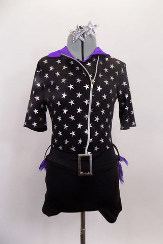 Black short unitard with silver stars, has 3/4 sleeves & front off-center zipper. Has purple collar & ruffled bustle. Comes with attached belt & star hair clip. Front