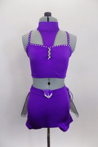 Purple 2-piece costume is a crystalled half top with choker neck attached to bust by triangle accent. Bottom is shorts with black tulle & feather bustle. Front