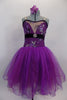 Magenta purple embroidered & sequin lace romantic tutu has skirt with crystal tulle overlay on purple/fuchsia mesh. Skirt has large purple flower at back. Front