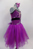 Magenta purple embroidered & sequin lace romantic tutu has skirt with crystal tulle overlay on purple/fuchsia mesh. Skirt has large purple flower at back. Side