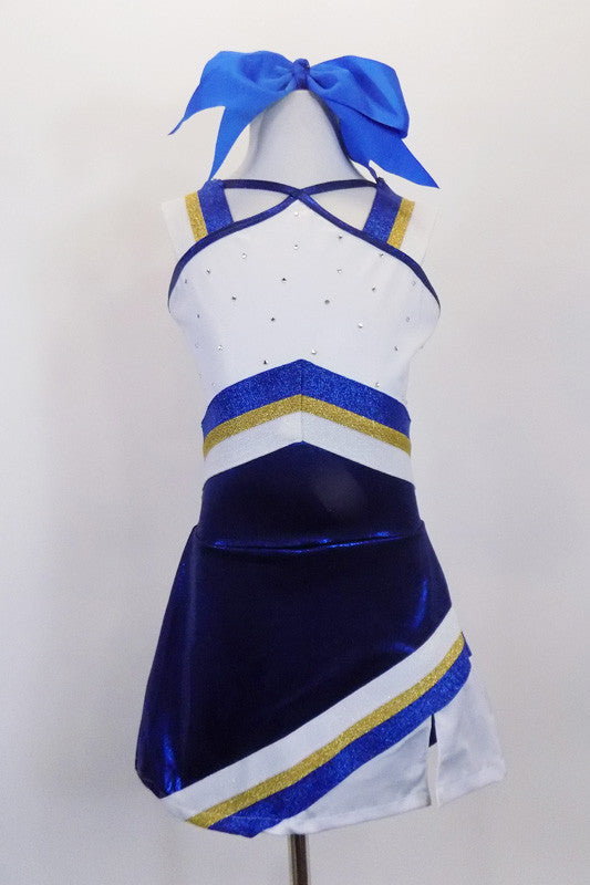 Adorable cheerleader costume has attention to detail with wide shoulder bands in blue gold & white that accents the pointed  torso & angled  stripe skirt design. has attached bottom and hair bow. Front