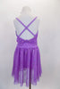 Lavender sequined sheer leotard dress has gathered front bodice with crystal accents Low open back has cross straps. Wide waistband gathers in bow knot at back. Has large flower at waist and matching hair accessory. Back