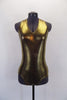Metallic lined gold halter body suit is simple yet makes a statement. Front