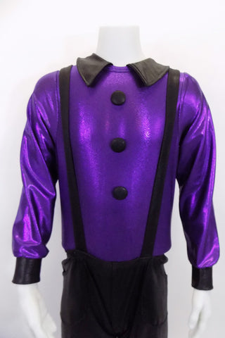 Black stretch pants with elastic waist, front pockets & suspenders accompanies a metallic purple, long sleeved leotard shirt that has zip back, collar & buttons. Front