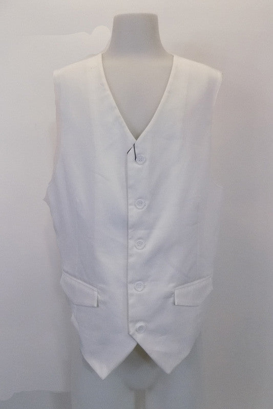 "White five-button slim cut ""Urban"" vest has faux flap pockets at front. The white satiny back has an adjustable waist buckle. Front"