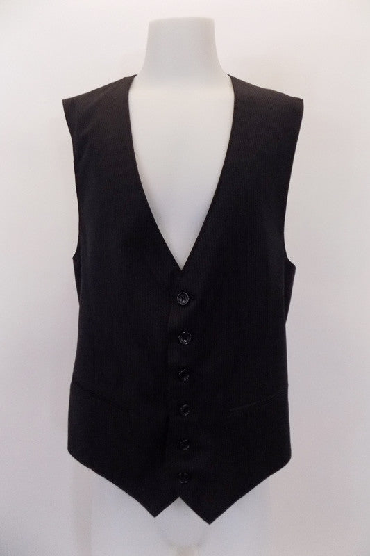 "Black with fine grey pin-stripe, six-button, ""URBAN"" slim-fit vest has slit pockets at front. The black satiny back has adjustable waist buckle. Front"