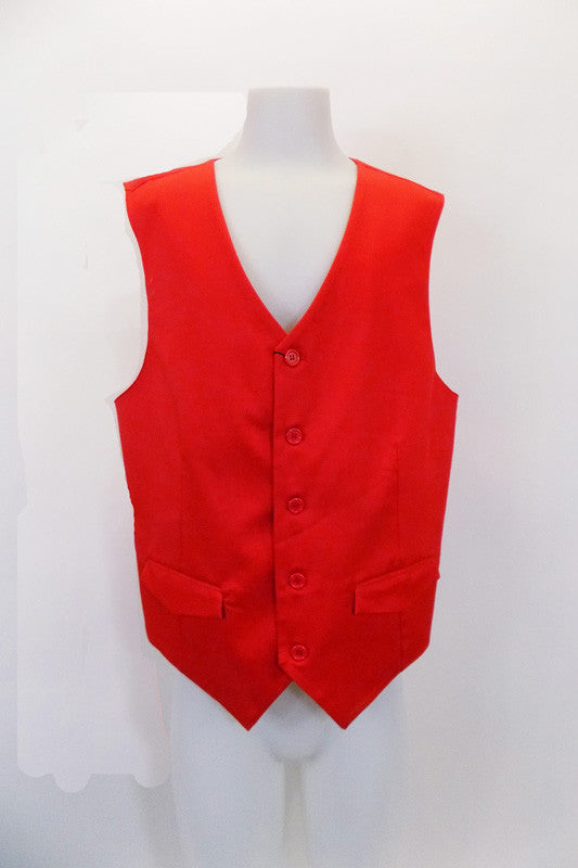 "Red five-button cotton/polyester slim cut ""Urban"" vest has faux flap pockets at front. The red satiny back has an adjustable waist buckle. Front"