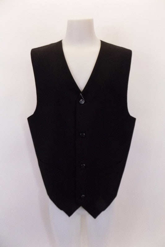 "Black, four-button, ""Gigliano"" European design vest has faux, square flap pocket accents & darted seams at front. Black satiny back has an adjustable buckle. Front"