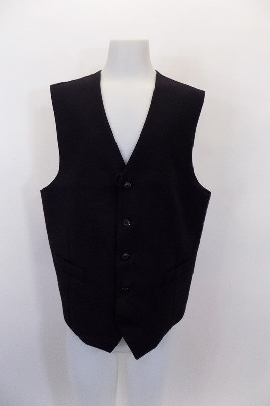 Navy five-button, vest has a slim cut European styling with full darted side seams, Has a black satiny back with darted seams and adjustable waist. Front