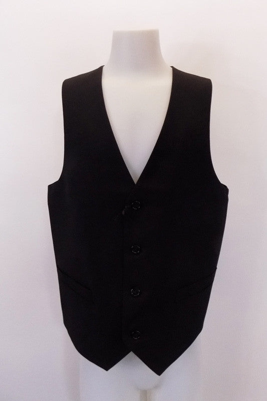 "New with tags, black, four-button, ""INC"" slim-tapered vest has faux, square flap pocket accents at front. The black satiny back has an adjustable waist buckle. Front"