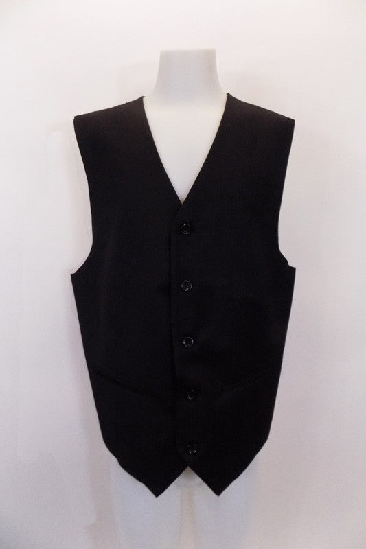 "Black five-button, ""Gigliano"" vest has tapered front and back seams and faux slit pockets at front. The black pin-stripe satin back has adjustable waist buckle. Front"