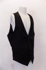 "Black five-button, cotton ""H&M"" slim-fit vest has angled slit pockets at front. The black satiny back has adjustable waist buckle. Side"