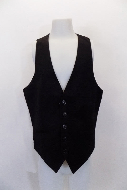 "Black five-button, cotton ""H&M"" slim-fit vest has angled slit pockets at front. The black satiny back has adjustable waist buckle. Front"