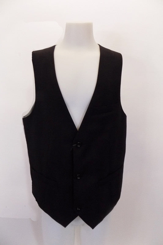 "3-button, ""Stockholm Evolution"" European-design vest has darted front seams & edged slit accented pockets. The grey satiny back has adjustable band with buckle. Front"