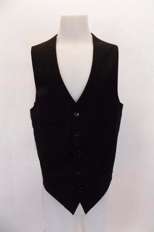 "Black five-button, ""Urban"" vest has darted side seams, faux slit pockets & front breast pocket accents . The black satiny back has buttons to adjust waist. Front"