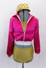 80 's Roller Derby themed gold half top & matching brief style short has accompanying hot pink satin jacket with gold stripe down the arms. Comes with gold newsboy hat. Front