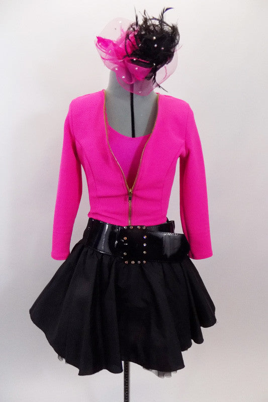 Pink racer-back top has crystalled neckline & pink short jacket. The matching black taffeta skirt has tulle petticoat Comes with large pink & black hair accessory & patent belt. Front