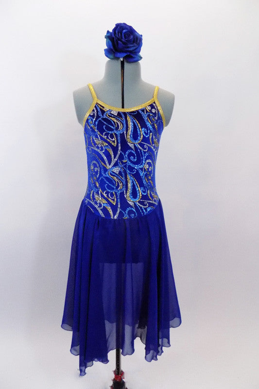 Blue camisole leotard dress has gold edging & swirls of pale blue, silver & gold on a royal blue velvet base. The shirt is knee length blue flowing chiffon. Comes with blue rose hair accessory. Front