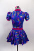Blue base, 3-piece costume has pinks & golds throughout. Pouf sleeved half top has hot pink, crystalled velvet collar & matching skirt. Has pink floral hair accessory. Back