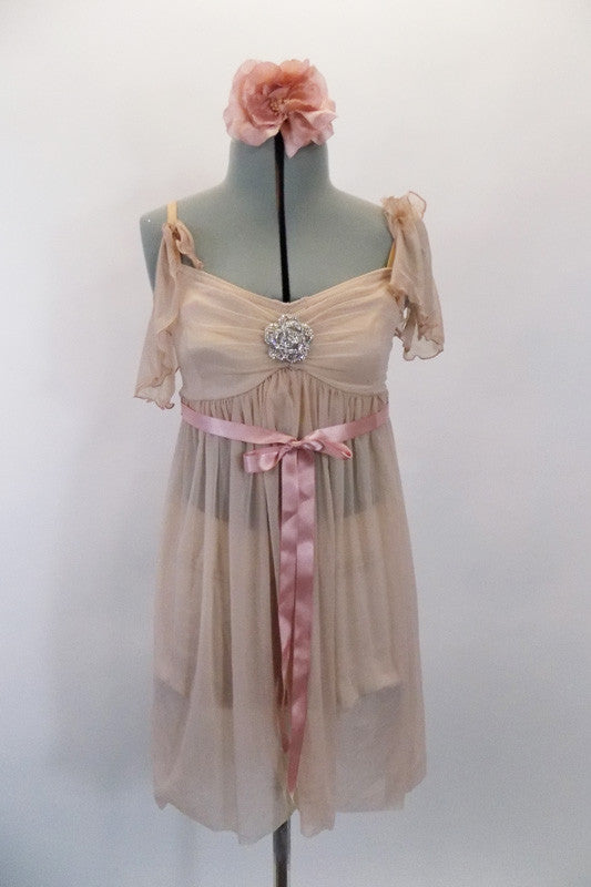 Blush pink, sheer baby-doll dress  has built in nude bra (34A). The front of the bust gathers at a large crystal rose. Two sleeves are different sleeves. Has blush ribbon tie and hair accessory. Front