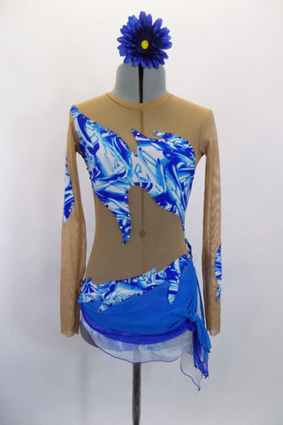 Long sleeved nude mesh leotard has blue/white unique splash inlay design  across the bust, back & waist. Has attached 3-layer sarong skirt in shades of blue. Front