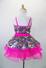Sparkly camisole dress in rainbow sequins sit on a hot pink tutu skirt, with pink straps & cummerbund waist. Comes with matching pink jacket & hair accessory. Back view no jacket