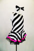 Sweet black and white striped tank dress with hot pink accent makes a statement. Has black tulle petticoat beneath the skirt. Comes with large black & white hair bow. and pink gauntlets. Side