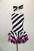 Sweet black and white striped tank dress with hot pink accent makes a statement. Has black tulle petticoat beneath the skirt. Comes with large black & white hair bow. and pink gauntlets. Front