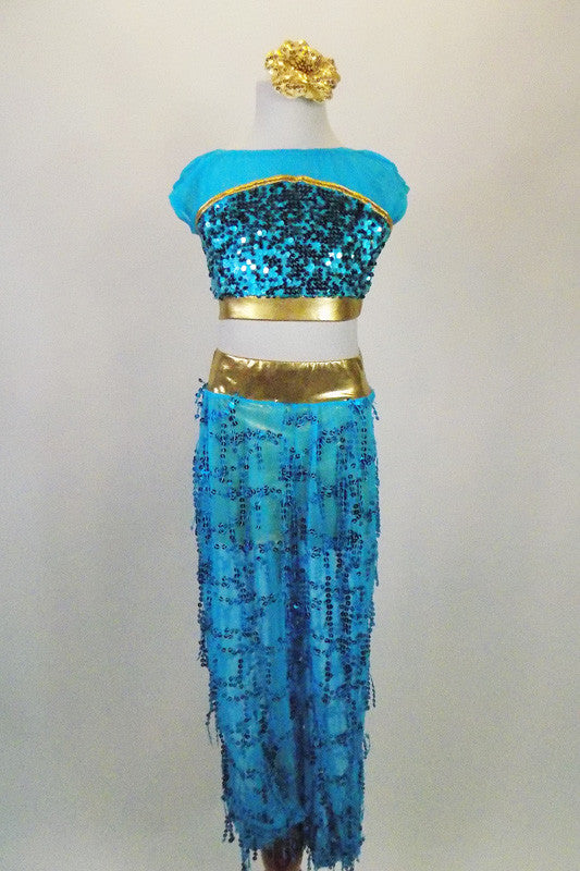 Turquoise & gold 2-piece genie costume has sequined top with mesh upper & gold banding. Pants are sheer with dangling sequins & gold brief. Has gold hair piece. Front
